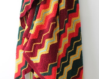 Zig Zag / huge cover vintage / handmade crochet / 1970 /on the matching colours green / yellow / coral / plum /CR150157
