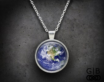 Earth Necklace Planet Earth Pendant Planet Jewelry - Planet Earth Necklace Planet Pendant - Earth Jewelry Planet Necklace Earthy Gift
