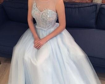 Blue Floral A-line Wedding Dress