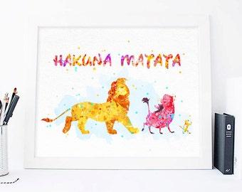 Disney Lion King Hakuna Matata Watercolor Poster, Lion King Print, Lion King Wall art, Watercolor Lion King gifts, Nursery Disney wall art
