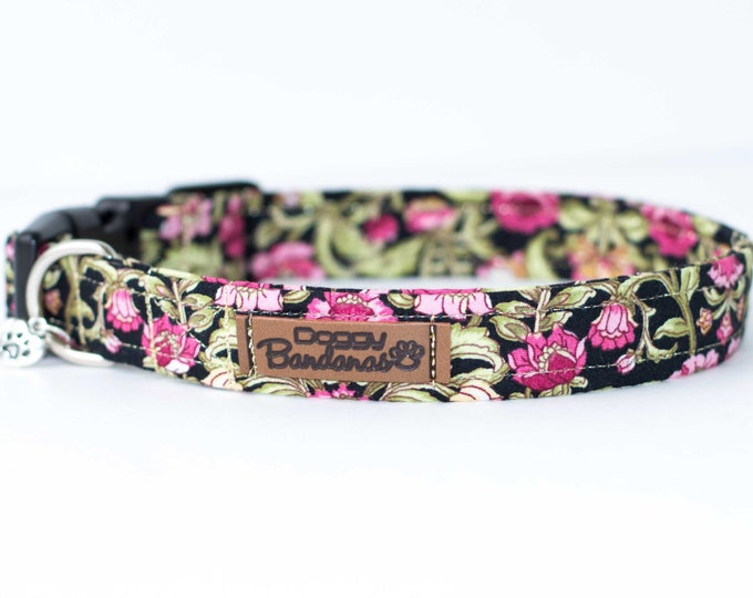 Flower Dog Collar Floral Provence Dog Collar Fabric Black Dog Collar Adjustable Dog Collar Girl Dog Collar Spring Summer Dog Collar Dog Gift
