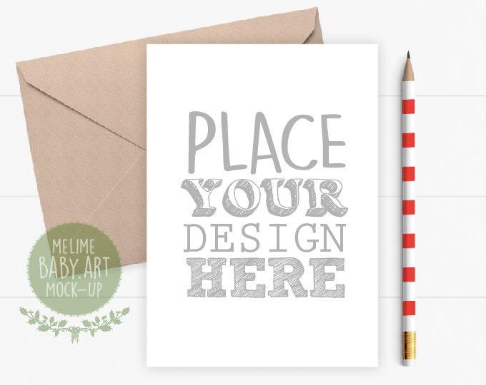 5x7 Card Mockup, Flatlay Card and Envelope Mockup, Styled Photography Mockup, Christmas Card Mockup (Red.Pencil)