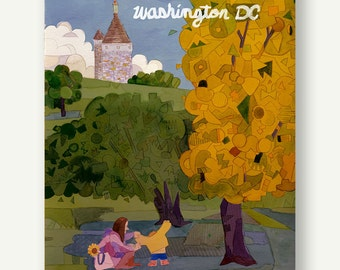 Fort Reno - Postcards from Washington DC - autumn gift, geometric print, castle, baby sweater, housewarming gift, yellow print, fall leaves