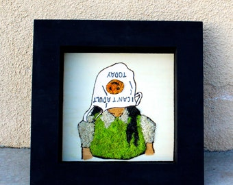 A Case of the Mondays- Colored Moss Art (Wood Burned)
