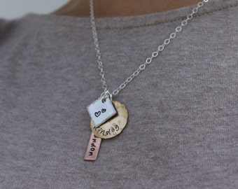 Childrens Names Necklace Mixed Metal Necklace Couples Necklace Mother Necklace Layered Necklace Wife Necklace