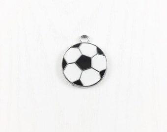 2 Soccer Ball Charms, Enamel Soccer Ball Charm, Black White Soccer Charm, Metal Charms, Jewelry Making,