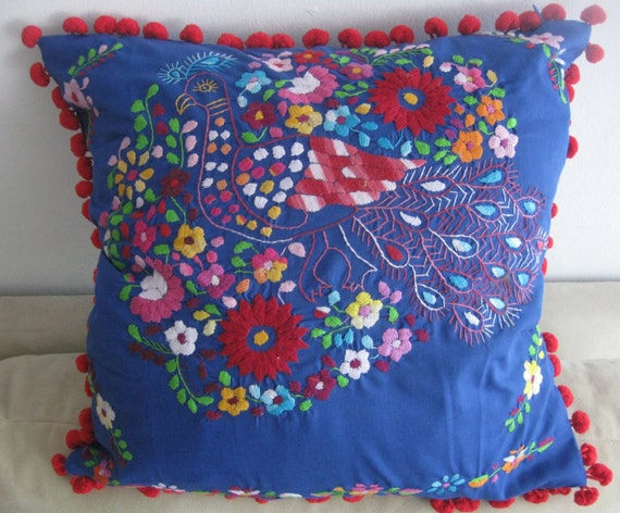 Mexican Dress Pillow/Mexican Dress/Pom by RojoTurquesa on Etsy