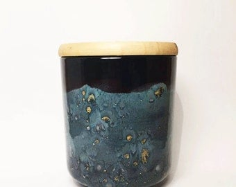 Hand-painted Blue and Black Canister