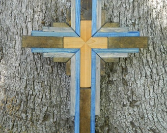 Handmade Cedar Cross surrounded in Stained Pine