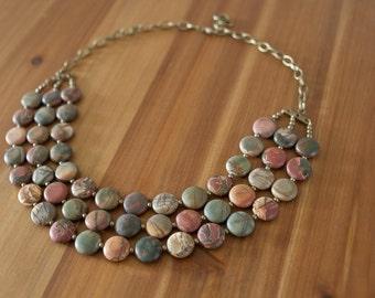 Bib Necklace, Chunky Stone Necklace, Multi-Strand Necklace, Natural Stone Necklace, Picasso Jasper Necklace, Gemstone Necklace, Statement