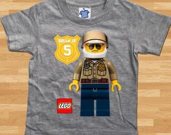 Lego City Police Custom T-Shirt - Boy