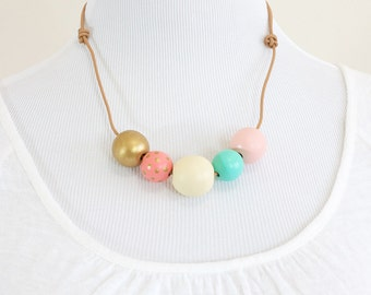 Hand Painted Wooden Bead Necklace - Tea Cups