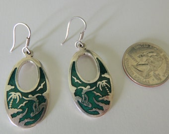 Vintage Sterling Silver  925 Handmade earrings, oval dangle earrings from Mexico