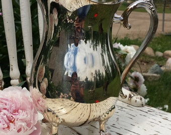 "Vintage Leonard Silverplate Water Pitcher 8 1/2"" Tall"