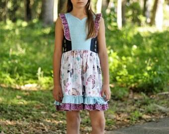 Girls dress, Handmade in the USA, Girls clothing, Girls size 7, Girls size 8, Girls RTS dress, Katherine dress in whisper