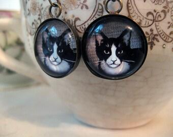 Short Haired Black And White Cat Earrings