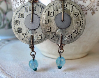 Silver Art Deco Watch Dial earrings with Silver gears blue glass accent beads