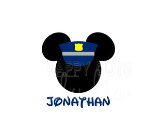 Personalized Police / Officer Law Enforcement Patrol Hat Mickey Mouse Disney Vacation Dad Matching Family Iron On Decal Vinyl for Shirt 108