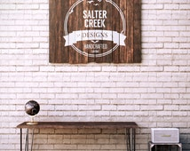 Wood Sign - Custom Logo Artwork - Reclaimed Pallet Boards - Office Decor - Business Corporate Company Logo Wood Sign - Brand