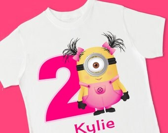 Girl Minions Birthday Tee. Personalized Birthday T-Shirt. Personalized with Name, Age or Number. 1st 2nd 3rd 4th 5th 6th Birthday. (15073)