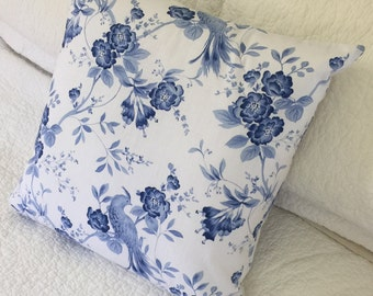 "Blue & White - Bellini Blue Bird - Cushion Cover 45 x 45cm (18 x 18"")"