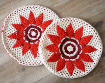 70s Crochet Cushions, Vintage round crochet pillow covers
