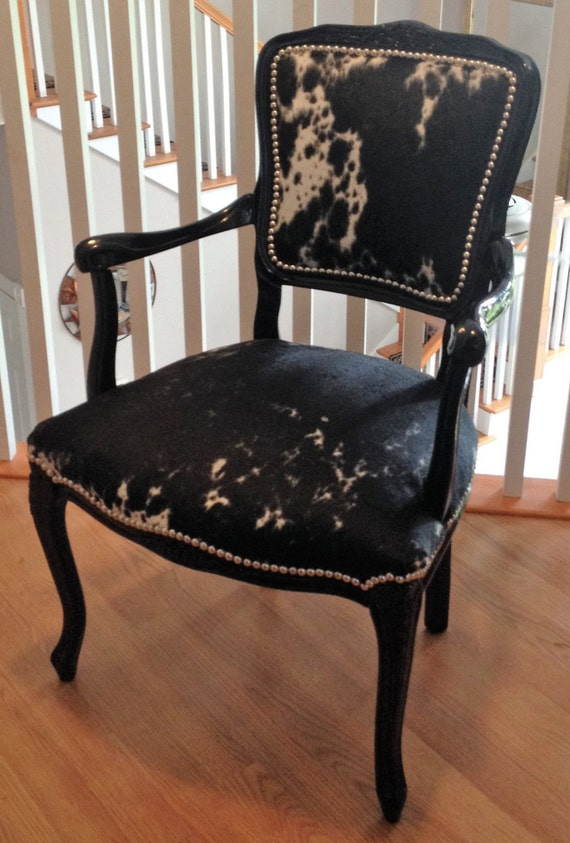 French Cowhide Upholstered Accent Chair by TxGirlCustomCowhide