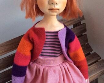 Handmade Art clay doll, OOAK Art Doll,ooak doll, paper clay doll,doll, doll handmade, Collectible doll, air dry clay doll, decorative doll