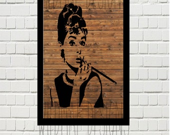 Audrey Hepburn Silhouette Wall Art Printable