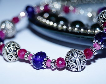 Amethyst, Ruby, Pink Sapphire and Sterling Silver Beaded Bracelet