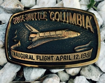 Solid Bronze Belt Buckle of Space Shuttle Colombia 1981, Ace of Bronze    REDUCED  PRICE and shipping