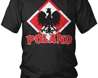 Distressed Poland Eagle Crest Men's T-Shirt, Polish Pride, Polska, Polish Eagle, Men's Poland Shirts AMD_2036