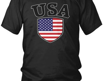 USA Country Crest Men's T-Shirt, United States of America, American Pride, USA, Red White and Blue, Men's America Soccer Shirts AMD_USA_03