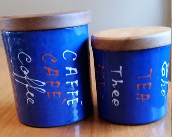 Vintage Enamel Coffee and Tea Canisters, Valenti, Italy