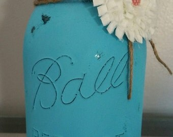 Shabby Chic Quart Mason Jar