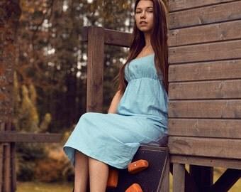 Long linen dress in light blue. Tunic,natural linen clothing, dress for women,women linen loose dress