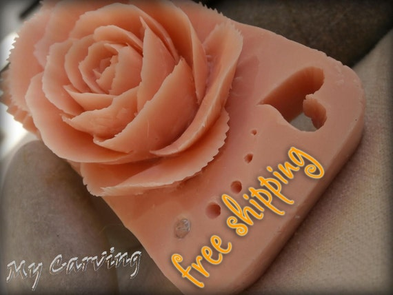 Items similar to Carving soap rose, hand carved pink soap ...