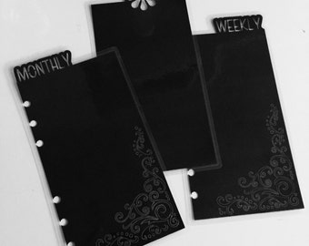 Planner bookmark dividers - personal size, Blackout (Customizable)