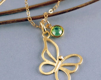 Gold Butterfly Necklace, Emerald Birthstone Necklace, Butterfly Jewelry, Nature Jewelry, Mother, Best Friend Gift