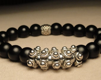 Matte Black and Silver Pewter Bracelet