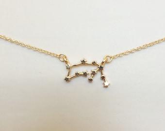 Aquarius Zodiac Horoscope Constellation Astrology Gold Necklace