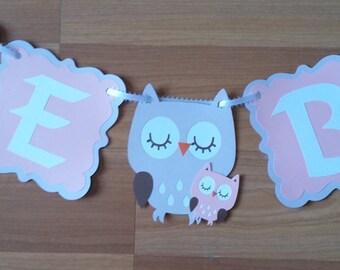 Owl Baby Shower Banner, personalized, Baby Shower Banner Custom