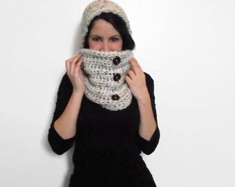 Crochet cowl, wood buttons, button cowl, winter accessories, crochet, handmade