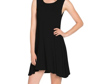 Fashionazzle Women's Solid Rayon Sleeveless Round Neck Asymmetrical Tunic Shirt Dress