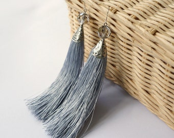 Grey earrings tassels