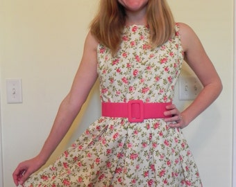 Handmade Vintage 1950s Floral Cotton Dress Size Small