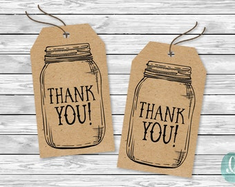 Printable Thank You Tags Wedding / Bridal Shower Favour Tags / Rustic Thank You Tags / Mason Jar Tags / Baby Shower Favor Tags