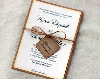 Simple Rustic Wedding Invitations, Vintage Wedding Invitation, Shabby Wedding Invitation Sets, Handmade Wedding Invitations, Country Wedding
