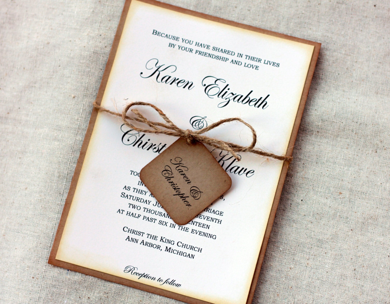 Wedding Invitations Handmade: Simple Rustic Wedding Invitations Vintage Wedding Invitation