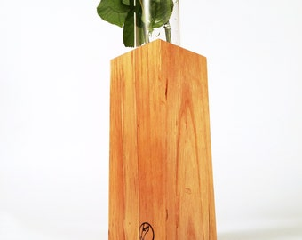 Wood vase with glass